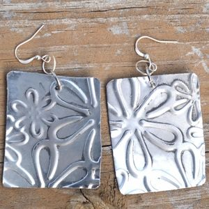 Big Hippie Floral Flowers Silver Earrings Square